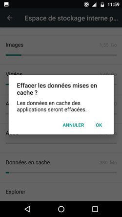 effacer données cachées stockage interne android