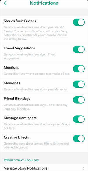 gestion notification story sur Snapchat