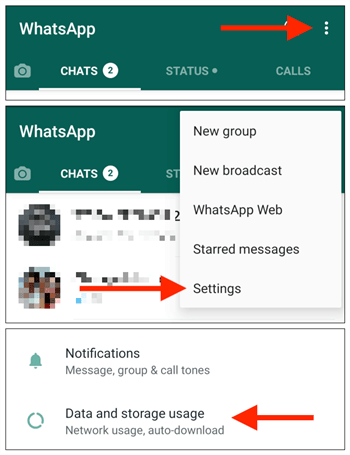 ouvrir espace stockage whatsapp android