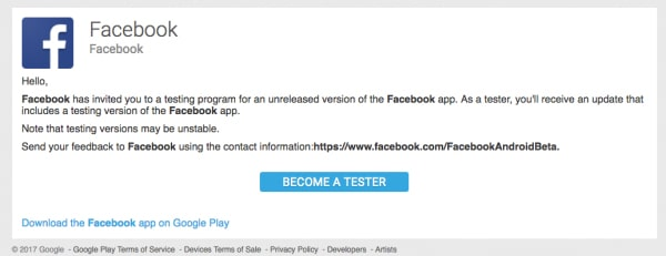 test beta facebook